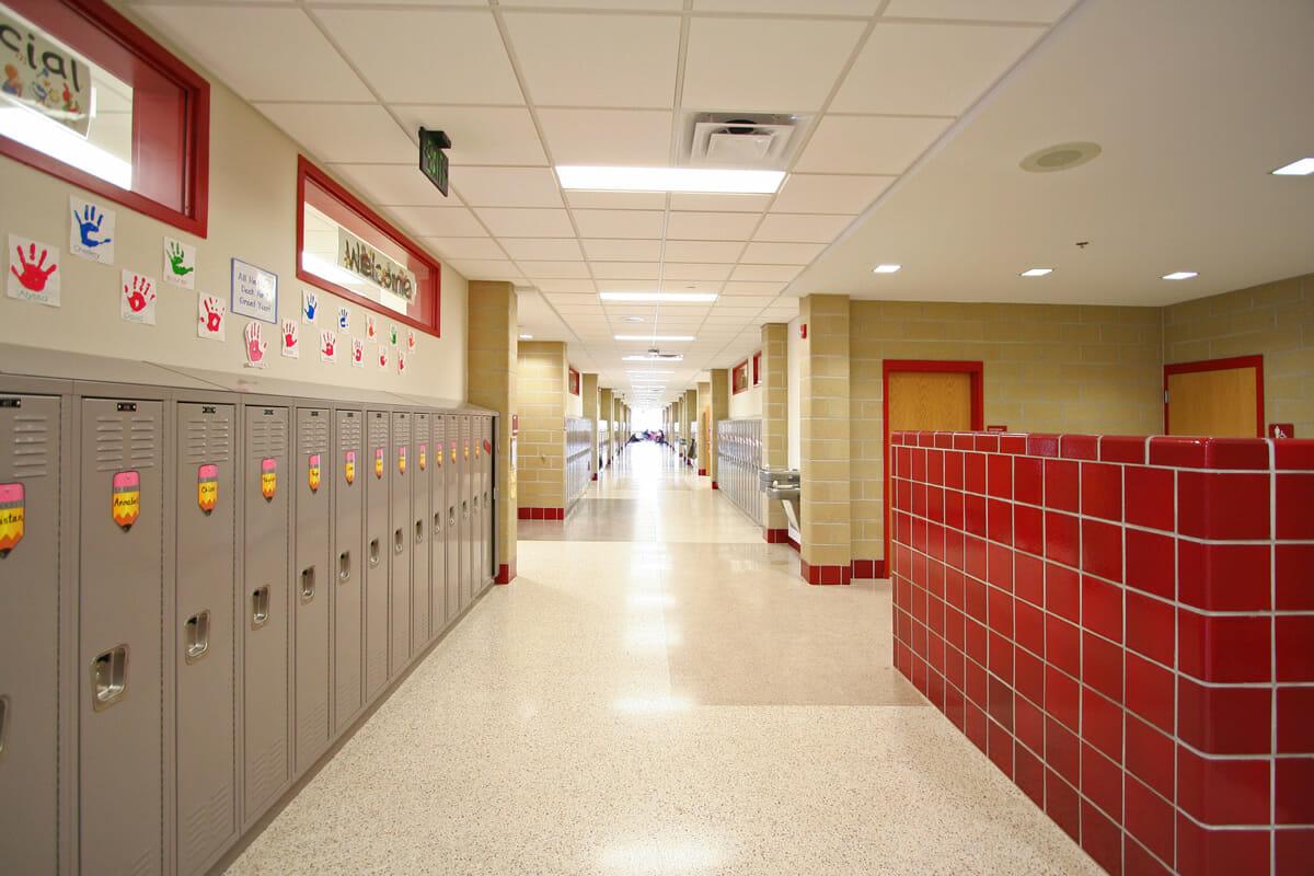 Fairmont Elementary school hallway and lockers