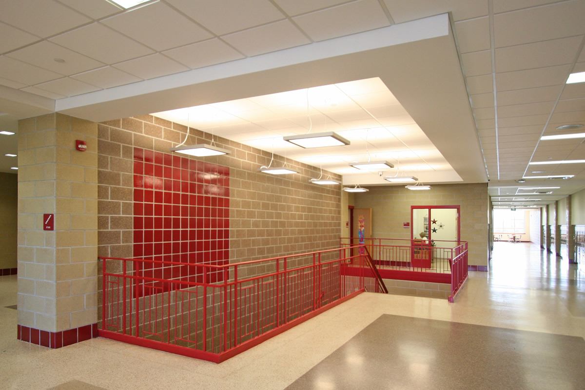 Fairmont Elementary school hallway and stairs