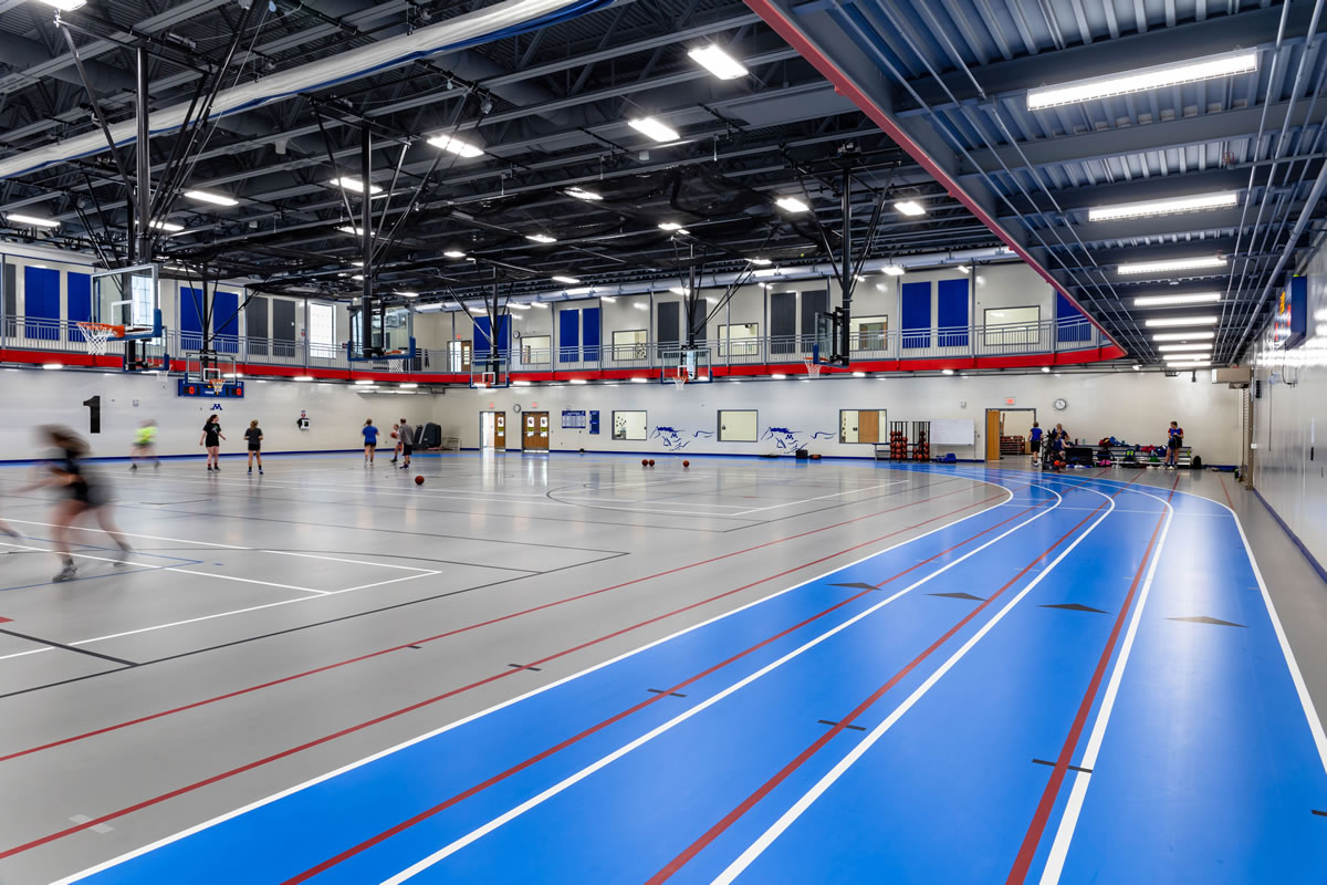 indoor track and basketball courts