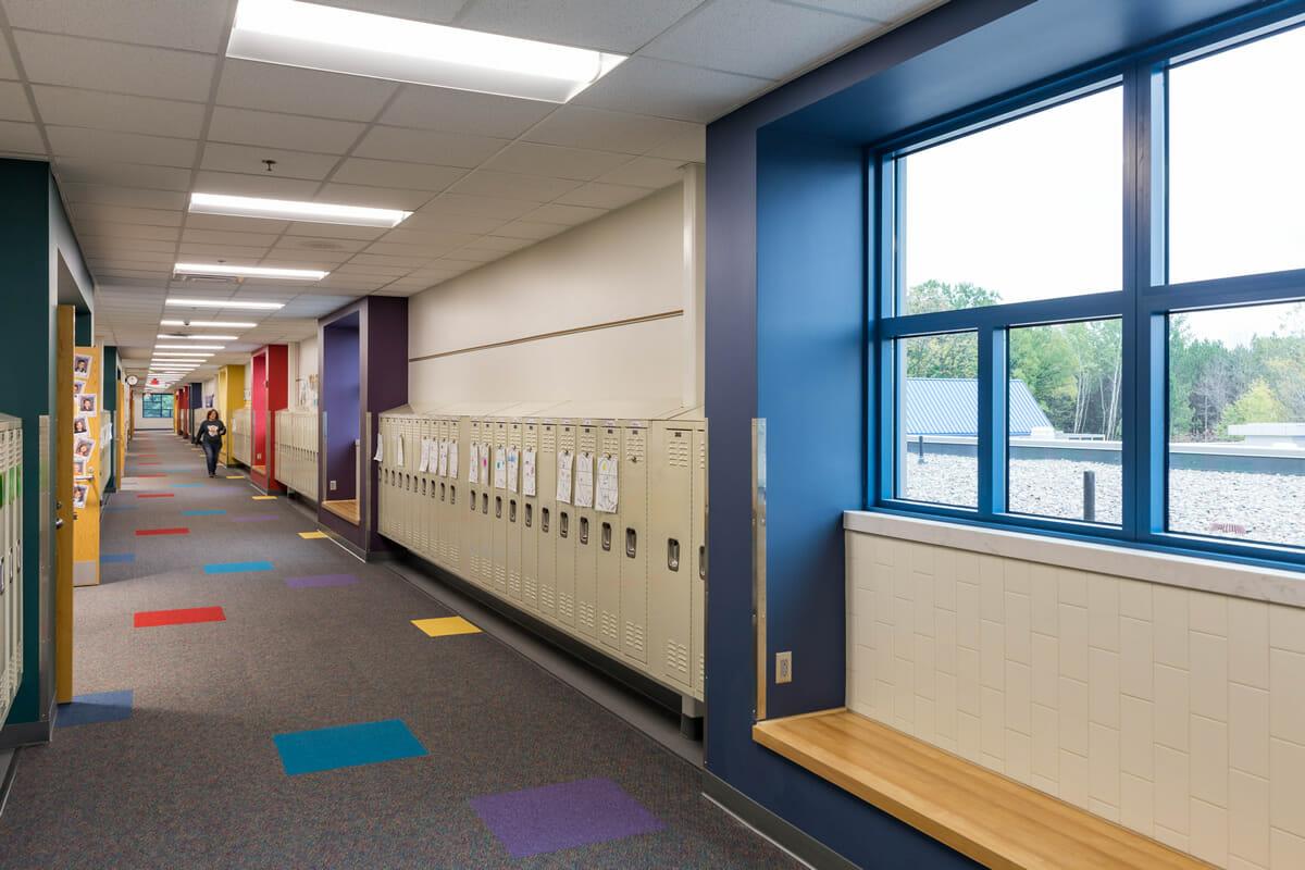 Mora Public School hallway and lockers